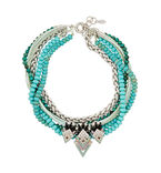 Carley layered silver-tone, Swarovski crystal and faux turquoise necklace