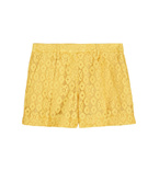 High-rise Pleated Lace Shorts